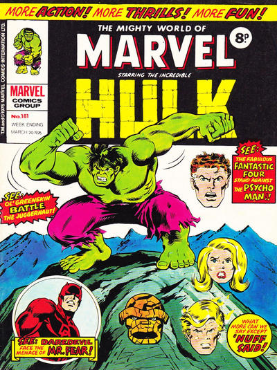 Cover for The Mighty World of Marvel (Marvel UK, 1972 series) #181