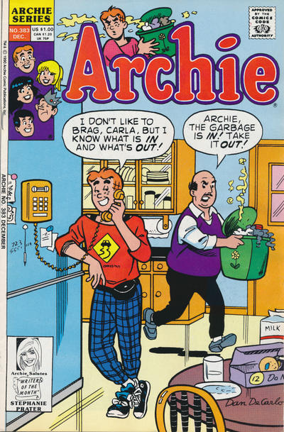 Cover for Archie (Archie, 1959 series) #383 [Canadian and British Price Variant]