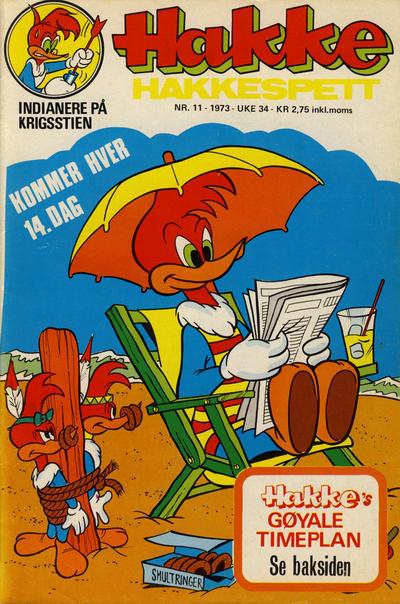 Cover for Hakke Hakkespett (Nordisk Forlag, 1973 series) #11/1973