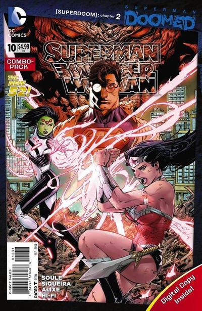 Cover for Superman / Wonder Woman (DC, 2013 series) #10 [Batman 75th Anniversary Cover]