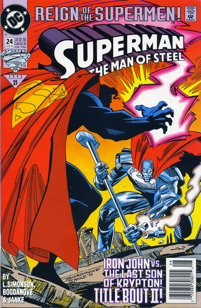 Cover for Superman: The Man of Steel (DC, 1991 series) #24 [Direct Edition]
